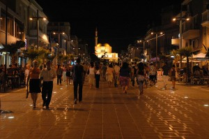 durresi at night, albania