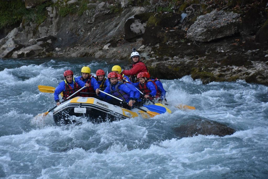french tourists rafting in vjosa