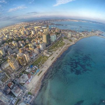 Aerial view over Durres Beach