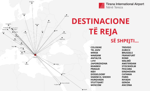 New flight destinations to and from Tirana for summer 2021