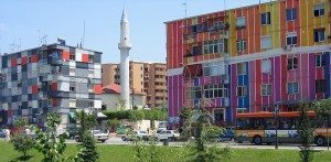 Tirana - Colourful houses at Lana