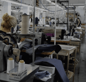 Woman working in a clothing factory in Albania