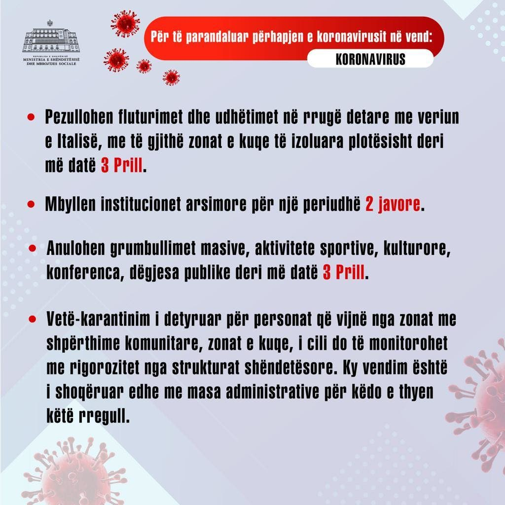 mesures to stop the spread of Coronavirus in Albania
