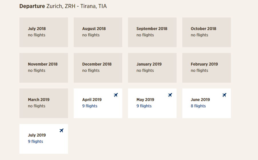 Zurich-Tirana direct flights