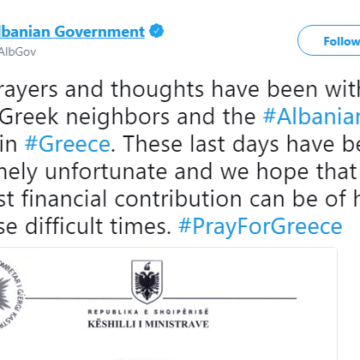 Albania in Solidarity with Greece after Devastating Fires, Govt Donates €100,000