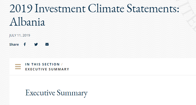 State Department on 2019 Investment Climate in Albania