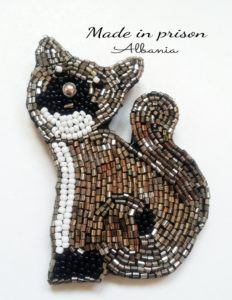 Made in Prison Albania cat bead brooch