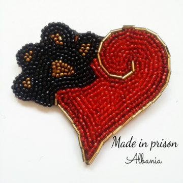 Made in Prison Albania heart bead brooch