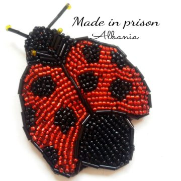 Made in Prison Albania ladubug bead brooch