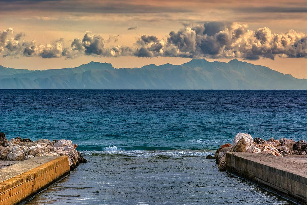 Albanian Mountains as seen from Italy