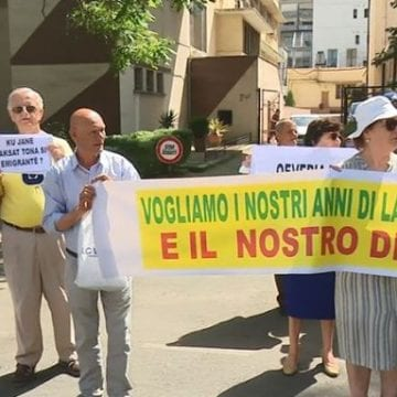 Retirees Protest in Front of Italian Embassy in Tirana