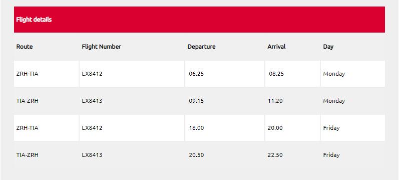 Zurich-Tirana flights
