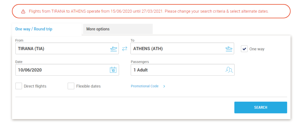 Tirana Athens flights