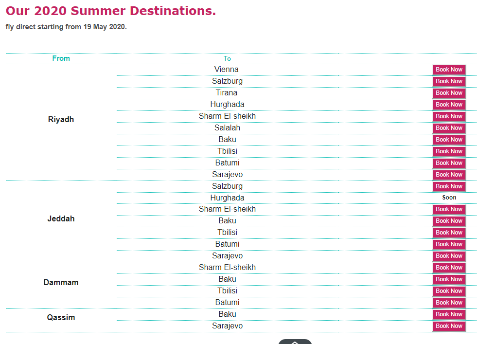 flynas summer destinations 2020