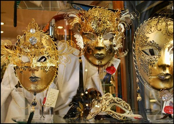 Tourists and Made-in-Albania Venetian Masks at Venice Carnival