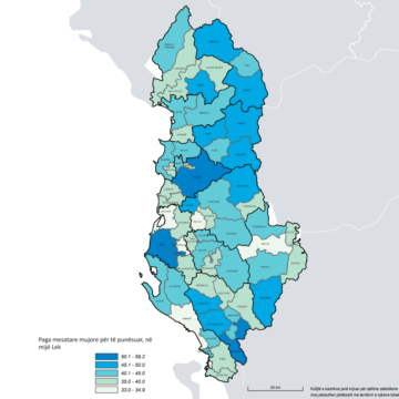 What Regions Have the Highest and Lowest Average Wage in Albania?